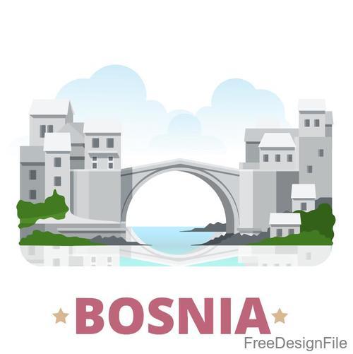Bosnia travel elements design vector