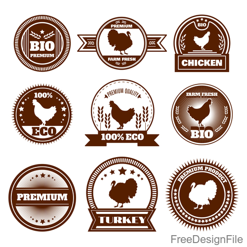 Brown chicken lables vector