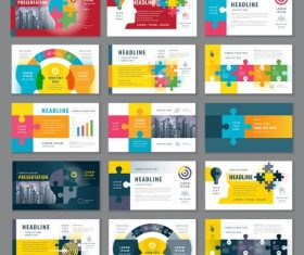 Business card template with puzzle vector