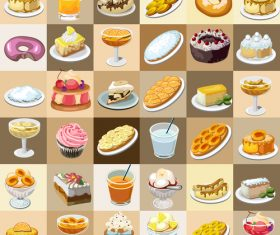 Cake with drink and ice cream vector set