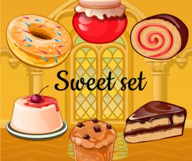 Cake with sweet set vector