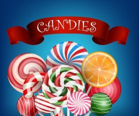 Candie background with ribbon banners vector