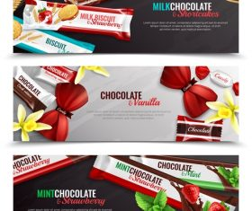 Candy packaging realistic banners vector
