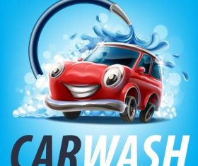Car wash cartoon design vector