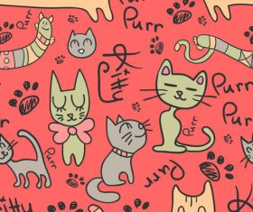 Cartoon cat seamless pattern vectors 02