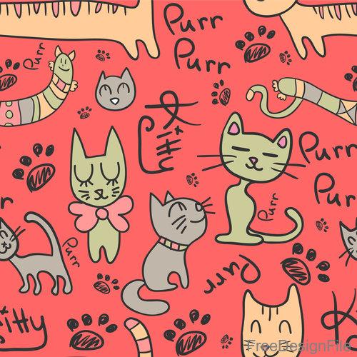 Cartoon cat seamless pattern vectors 02