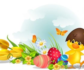 Cartoon chick with easter design vector