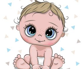 Cartoon cute baby card vectors 01