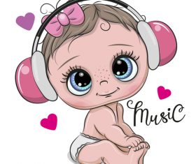 Cartoon cute baby with music vector