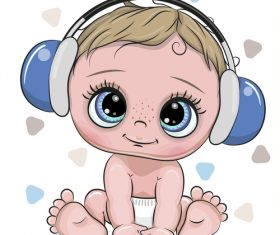 Cartoon cute baby with music vector 02
