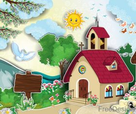 Cartoon house with natural scenery vector 01