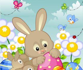 Cartoon rabbit with easter card vector