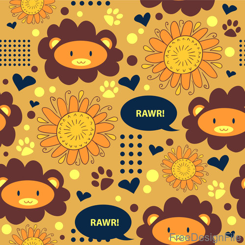 Cartoon sunflower with lion seamless pattern vectors