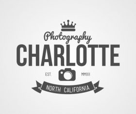 Charlotte photography Label design vector 02