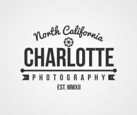 Charlotte photography Label design vector 03
