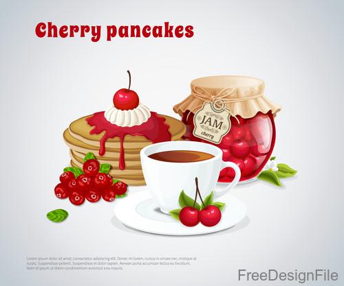 Cherry pancakes vector