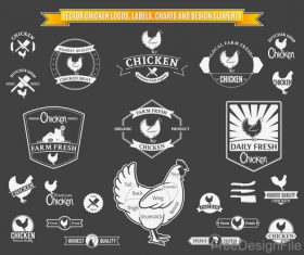 Chicken Logos with Labels and Charts vector