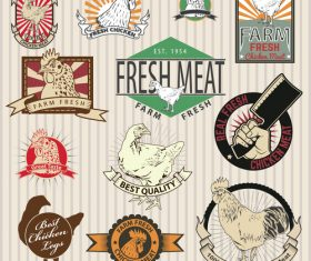 Chicken farm labels with sing vector