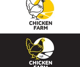 Chicken farm logos design vector