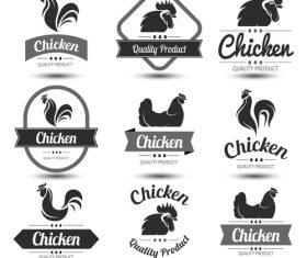 Chicken labels black vector set