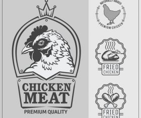 Chicken meat food labels vintage design vector