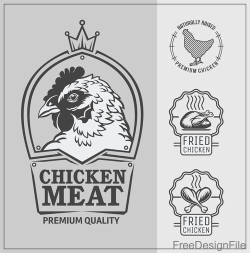 Chicken meat food labels vintage design vector