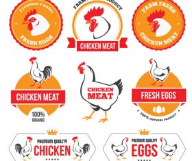 Chicken meat labels with badge vector