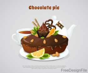 Chocolate pancakes design vector