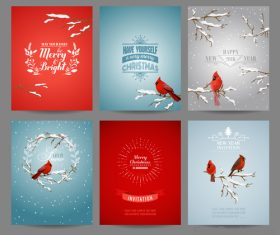 Christmas brochure template with red birds vector