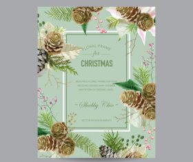 Christmas brochure with floral frame vector 01