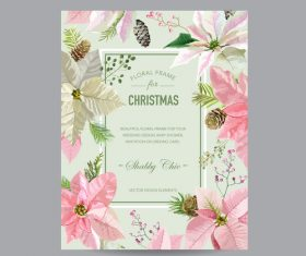 Christmas brochure with floral frame vector 02