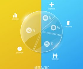 Circle glass infographic template vector