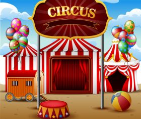 Circus background cartoon styles vector 01