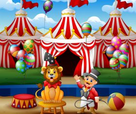 Circus background cartoon styles vector 02