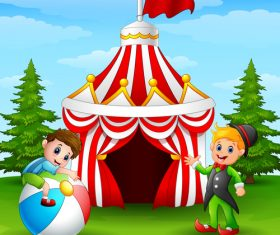Circus background cartoon styles vector 03