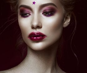 Close-up Beautiful Woman with Bright Make-up and Hairstyle Stock Photo 02