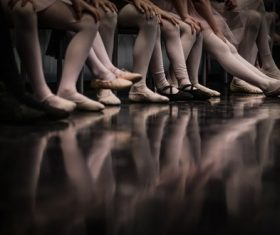 Close-up ballet girls feet