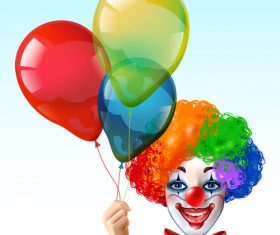 Clown with colored balloon vector