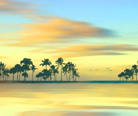 Coconut trees and flying birds by the sea at sunrise Stock Photo