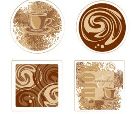 Coffee badge with illustration vectors 01