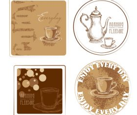 Coffee badge with illustration vectors 02
