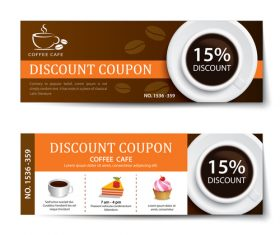 Coffee cake discount coupon vector 02