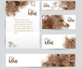 Coffee card with banners template vector 01