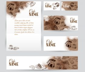 Coffee card with banners template vector 02