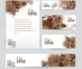 Coffee card with banners template vector 03
