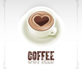 Coffee house background with heart shape vector