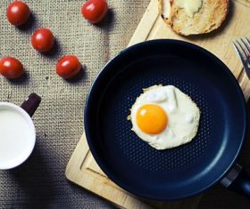 Coffee milk with omelet in the pot Stock Photo