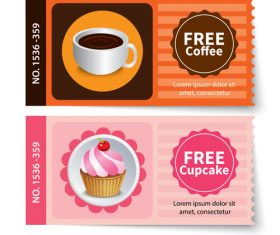 Coffee with cake coupon vector