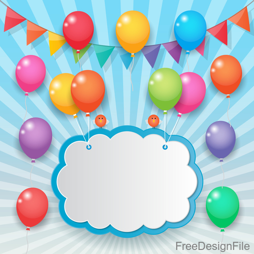 Color balloons with birthday card for you text vector