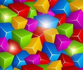 Colored 3D cube background vectors